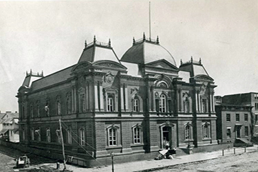 B/W photograph circa 1860s of the main elevation of the Renwick Gallery, Smithsonian American Art Museum