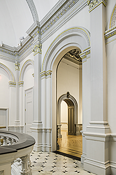 Renwick Gallery, Smithsonian American Art Museum's Grand Stair Hall to Octagon Room after renovation, showing updated lighter palette and gilding