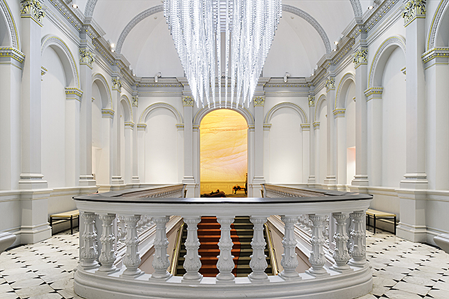 Grand Stair Hall on the second floor of the Renwick Gallery features the light sculpture by Leo Villareal titled Volume featuring thousands of LEDs programmed to dim in an infinitely dynamic pattern