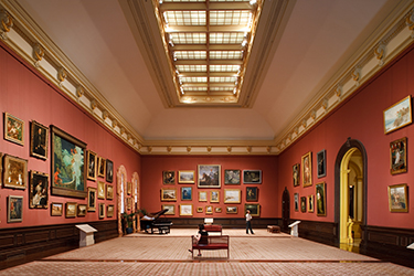 Grand Salon in the Renwick Gallery prior to renovation featured painting hung salon-style