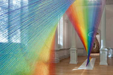 The art installation Plexus A1, by Gabriel Dawe, 2015, uses colored thread to simulate rays of light. Part of Wonder Exhibit Installations at the Renwick Gallery