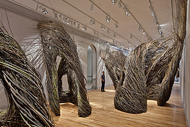 The art installation Shindig, Patrick Dougherty, 2015, uses sticks to weave unique structures. Part of Wonder Exhibit Installations at the Renwick Gallery