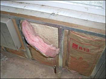 Example of spray polyurethane foam insulation