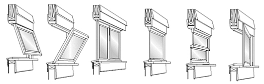 Example drawings of window types: awning, hopper, sliding, fixed, double hung, and casement