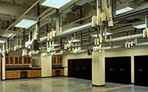 Photo of labs designed with overhead connects and disconnects