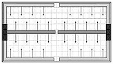 Diagram of shafts at the end of the building
