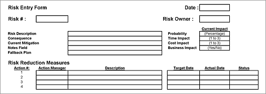 Sample risk assessment sheet with identificatin fields, description fields and risk reduction fields