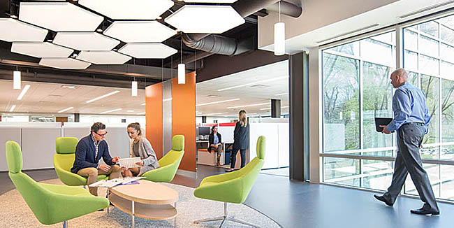 Meeting space with natural daylighting and views at Saint Gobain CertainTeed North American Headquarters