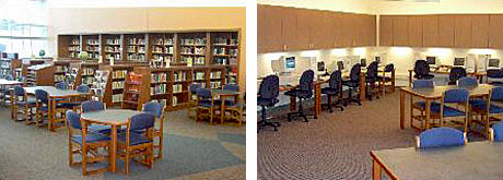 Side-by-side photos of the Robert J. Elkington Middle School Library, Grand Rapids, MN, right: Library shelves and work tables; left: Computer stations