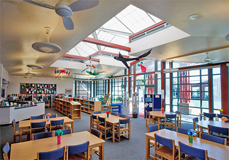 Daylighting features, skylights and a wall of windows, in the Coronado Middle School library