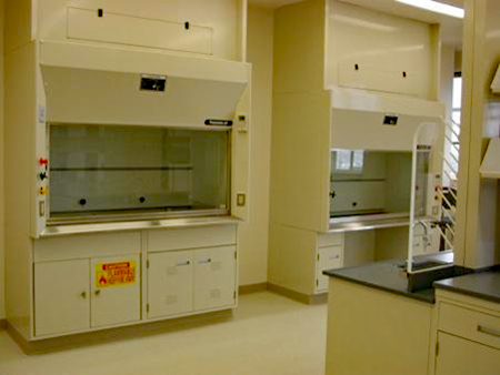 Flammable storage and chemical storage cabinets below a fume hood