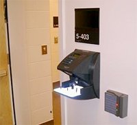 biometric hand scanner at the entry to a biosafety laboratory