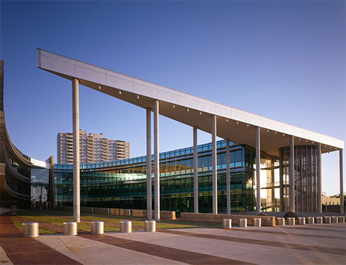 Security measures, such as setbacks, bollards, protective glazing, and structural hardening, are incorporated into the design of the new Oklahoma City Federal Building