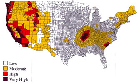 Seismicity Map of the United States showing the very high areas being on the west coast, Carolinas, and northwestern Tennessee. The high and moderate areas surround these very high areas.