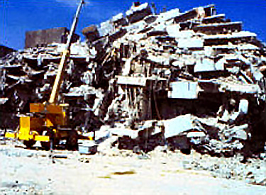 Photo of collapsed building