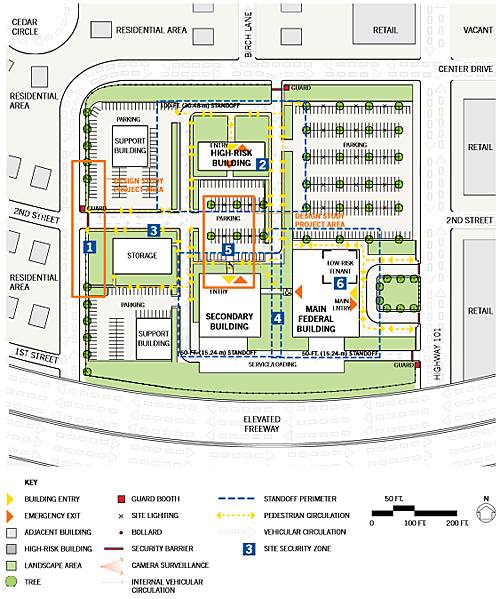 schematic of the existing conditions-site context plan of a federal building campus renovation in a suburban location
