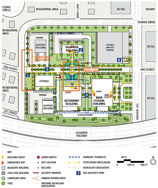 schematic of final concept plan of security and site design solutions for a federal building campus renovation in a suburban location