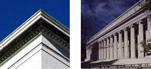 left photo: Architectural detail along corner of roof; right photo: Federal building designed with neoclassical columns