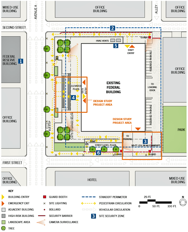 drawing of the existing conditions-site context plan of single building renovation in an urban location