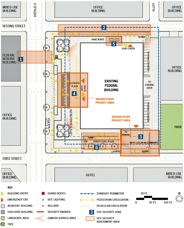 drawing of the site security assessment plan of single building renovation in an urban location