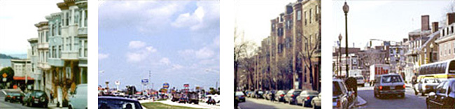 4 side-by-side images: left to right - San Francisco street view, Strip mall at a distance, Street and buldings in Beacon Hill, Boston, and traffic and buildings in Harvard Square, Cambridge, MA