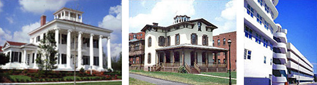 3 side-by-side images of different style houses: left to right - Greek Revival, Italianate, and Art Deco