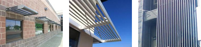 three photos depicting solar control and shading provided by a range of building components including: aluminum architectural sun shade; horizontal sun control device; and vertical fins on a building