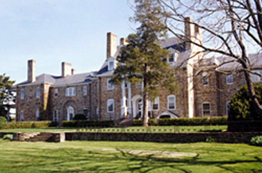 Exterior photo of 18th century brick country estate, Working Horse Farm, located in Virginia