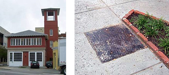 2 photos; on left is a red brick building with white panels and windows flanking a red door, a wall of widows along the second floor, and a large red tower stucture along the right side; on the right is a small metal plate covering a geothermal heating well installed in the sidewalk abutting a planter box