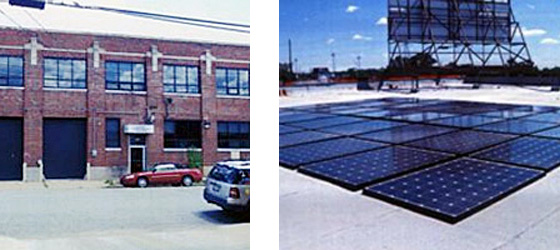2 photos; on the left is a large brick warehouse building with double height black garage doors and large windows along the second story; on the right is a flat roof with solar panels installed on it