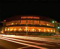 Nighttime view of Davies Symphony Hall, San Francisco