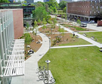 Aerial view of Georgia Tech's Klaus building exterior with green spaces
