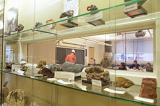 Lab window holding geology lab specimens for all to see (Winona State University)