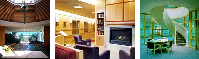3 side-by-side images, on left is an interior view of the chapel in the St. Charles Medical Center, in the center is an interior seating area in front of a fireplace in the Woodwinds Health Campus, and on the right is a seating area at the bottom of a spiral staircase in the Griffin Hospital