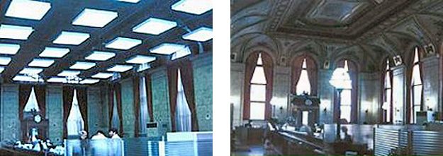 2 side by side images: left-before photo of dropped ceiling, and right-photo of a restored grand ceiling after a dropped ceiling has been replaced