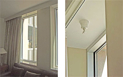 side by side photos: left-Room with a sprinkler head installed at window to ensure proper safety, and right-Close up of a sprinkler head installed at window