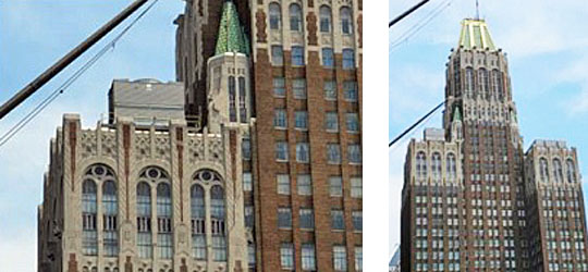 side by side images: left-close view of historic building exterior with obvious placement of new mechanical equipment that does not meet the Secretary's standards, and right-wide view of historic building exterior with obvious placement of new mechanical equipment that does not meet the Secretary's standards