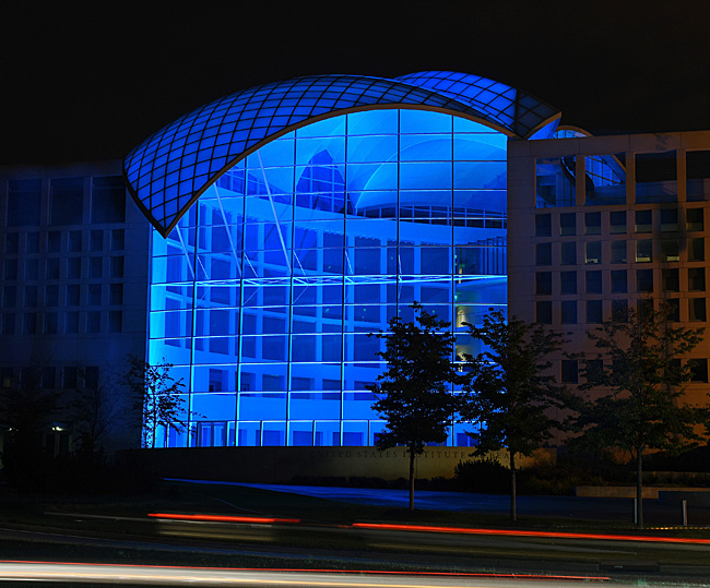 Institute of Peace blue light dome