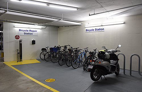 bike station in garage, Institute of Peace, Washington DC