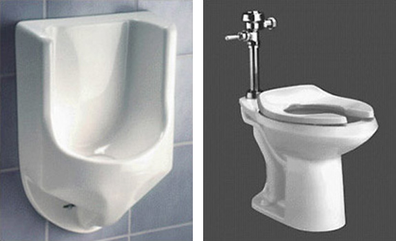 2 photos side by side left: Waterless Company Waterless Urinal, and right: American Standard ULF Toilet