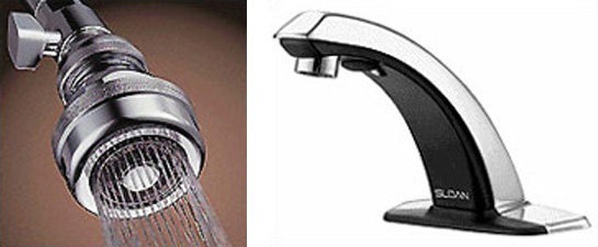 2 photos side by side left: Sloan-o-matic Low Flow Showerhead, and right: Sloan Automatic Faucet with Infrared Sensor