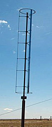 Photo of a component of a wind turbine blade that is a tall vertical shaft