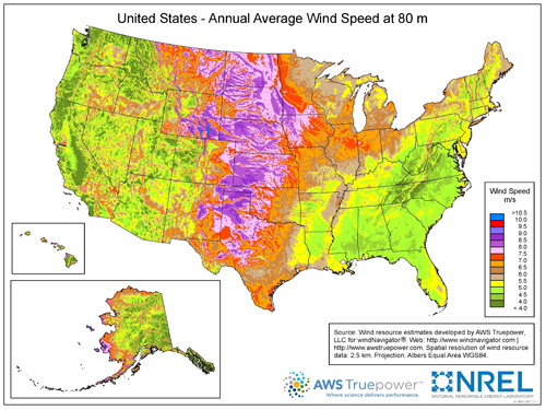 map of the United Stats showing annual average wind speed at 80 m