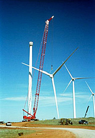 Photo of a tall construction crane line up near to a wind turbine