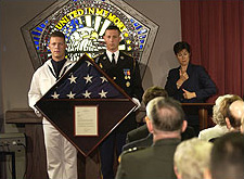 A flag presentation was held during the dedication ceremony of new stained glass window at the Pentagon Chapel on September 11, 2003.